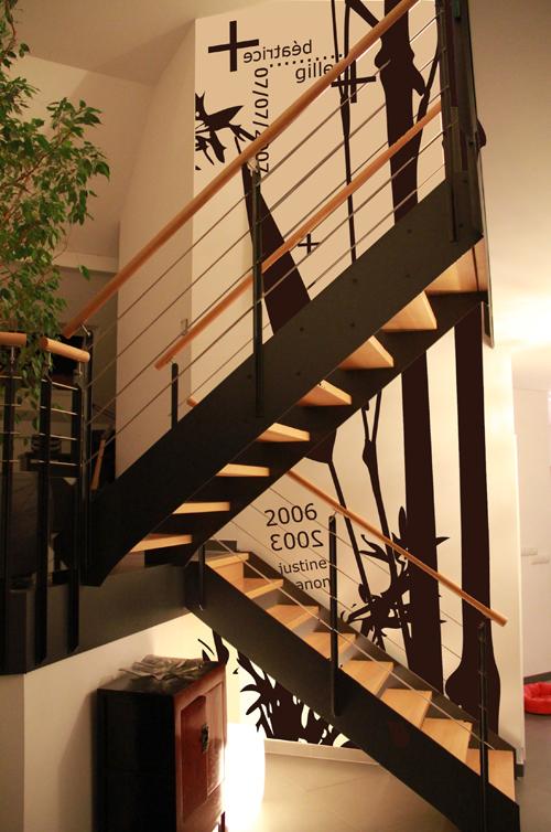 Du sticker mural pour un loft et une maison contemporaine - Stickers couloir maison ...