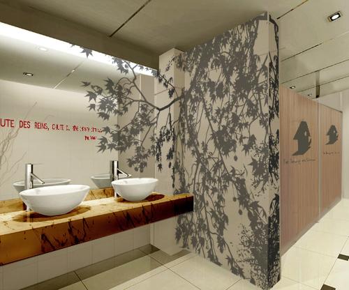 Une signal tique pour une galerie marchande et sanitaire adh sif peinture m - Peinture murale design ...