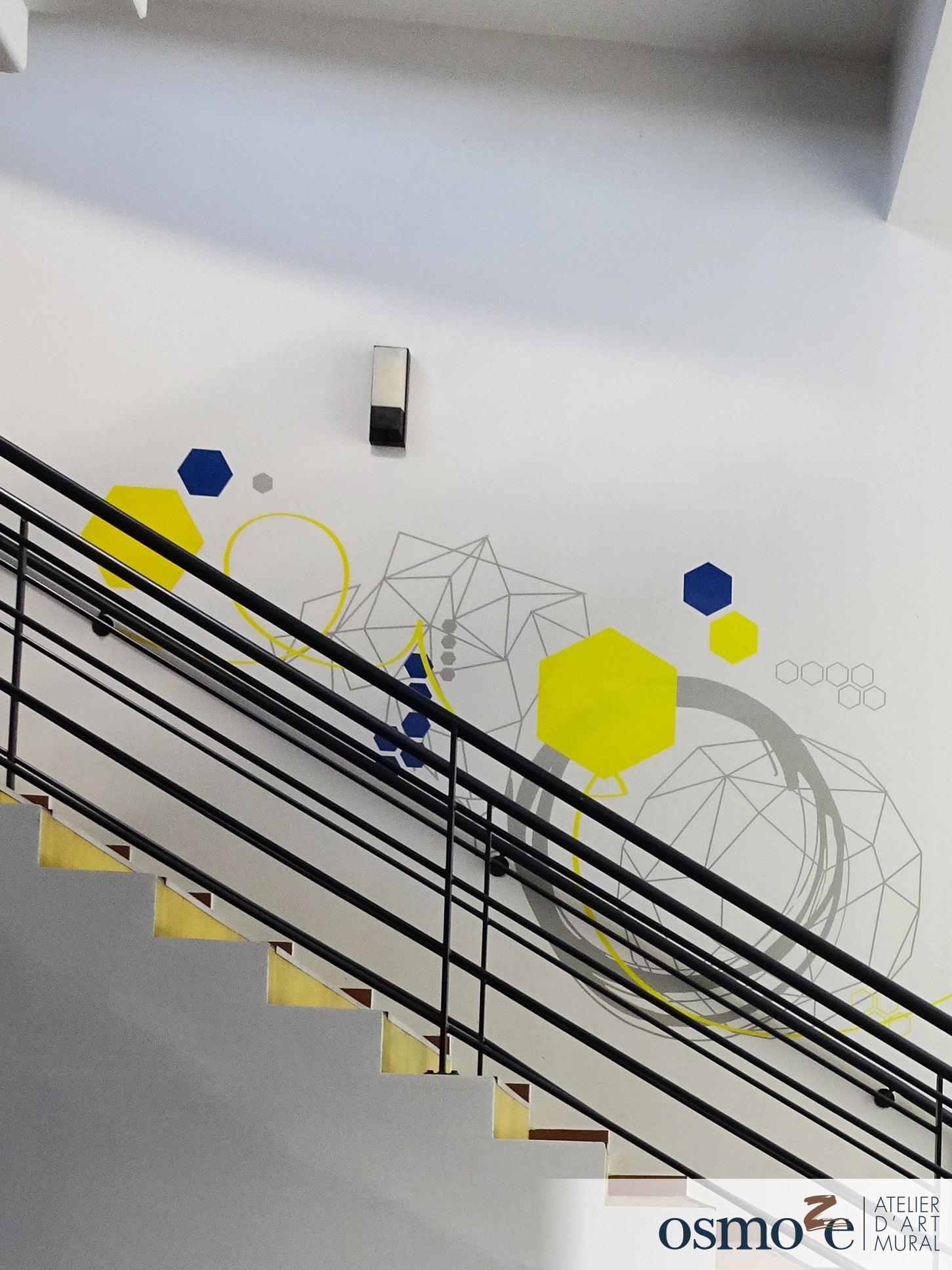 Décoration murale et signalétique artistique > Signalétique décorative > Décoration murale design > Escalier > CROUS Nice