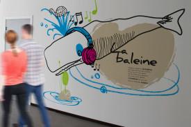 decoration centre specialise pour enfant, maison de l'enfance, design mural, dessin, couloir, mur, signalétique