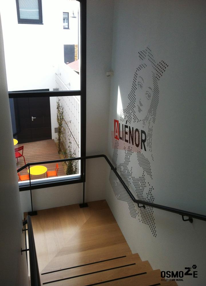 Médiathèque > Décoration Murale > Signalétique intérieure > Accueil > Cage Escalier