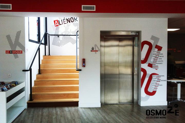 Médiathèque > Décoration Murale > Signalétique intérieure > Accueil > Ascenseur