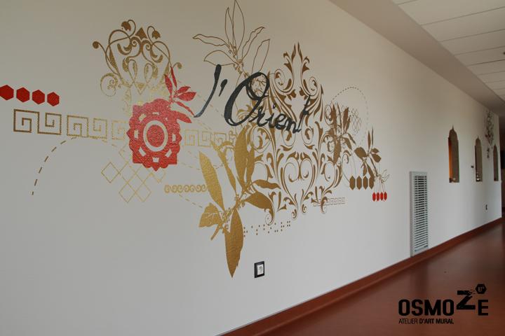 finest dcoration murale ue espace escalier ue foyer accueil mdicalis with pochoir mural oriental. Black Bedroom Furniture Sets. Home Design Ideas