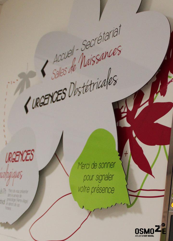 OEUVRE Murale #159. Le service gynécologique du CHU de Brest est en pleine rénovation sous l'impulsion graphique de notre atelier d'art Osmoze.