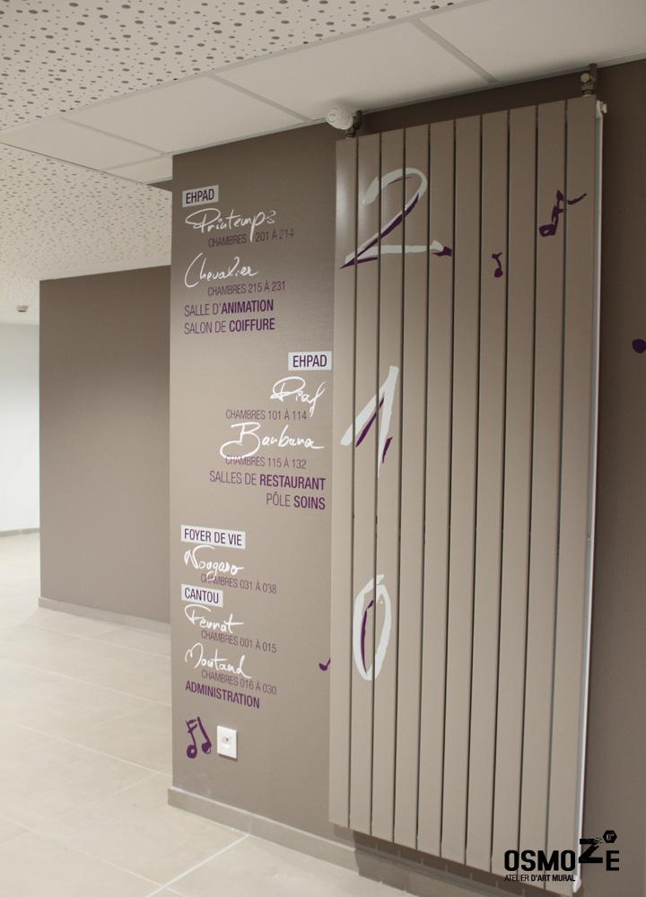 Signalétique EHPAD Prat Maria Quimper > Accueil Intérieur > Mur étage