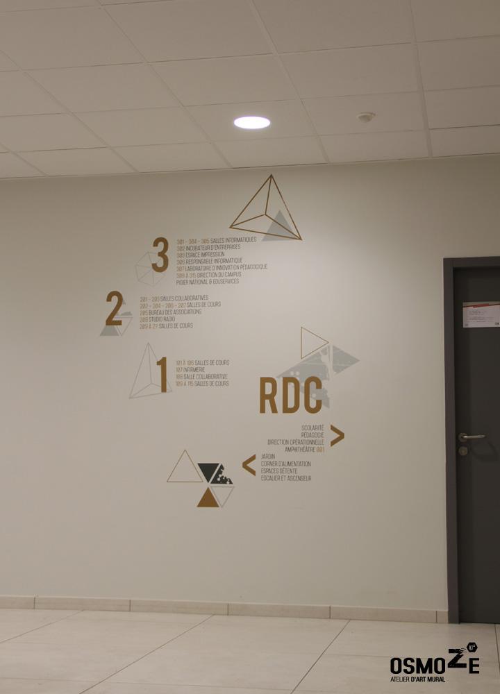 Décoration murale > Signalétique > Ecole Universite ISCOM > Mur directionnel