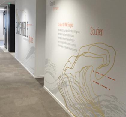 Une vitrophanie originale dynamique pour des cloisons - Decoration murale couloir ...