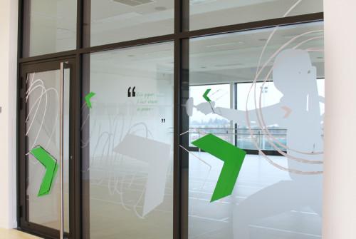 Vitrophanie > Graphisme sur cloisons vitrées >stickers > dépoli