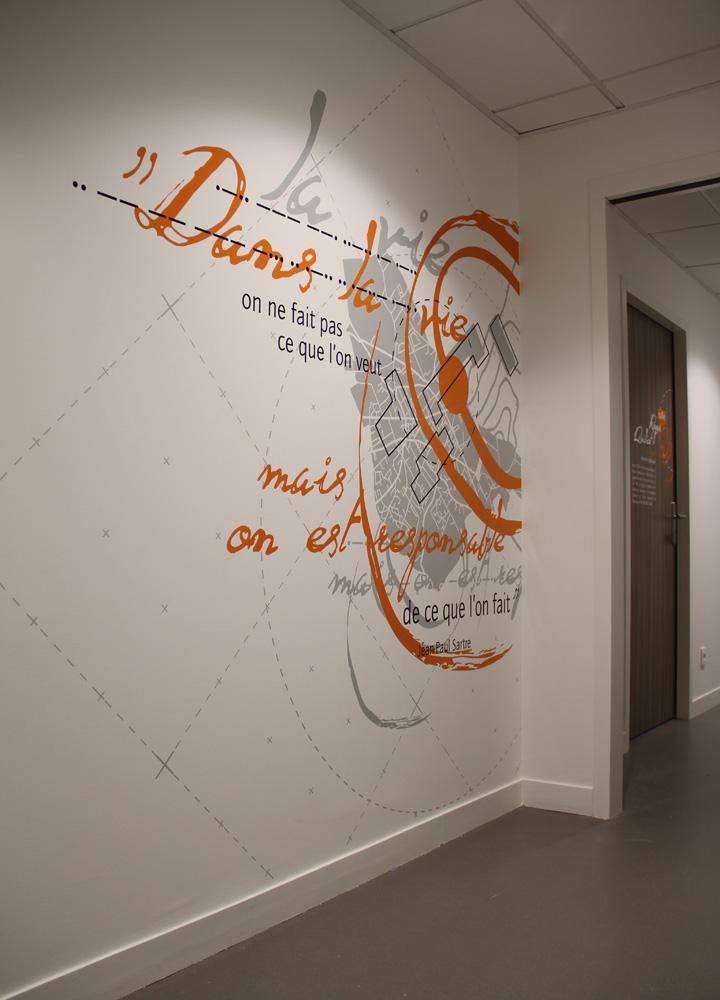 Décoration > Oeuvre murale et fresque contemporaine > Couloir Entreprise Logéal