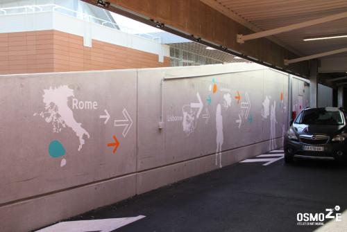 Signalétique Parking > Façade Béton > Galerie Commerciale Mont Saint Martin