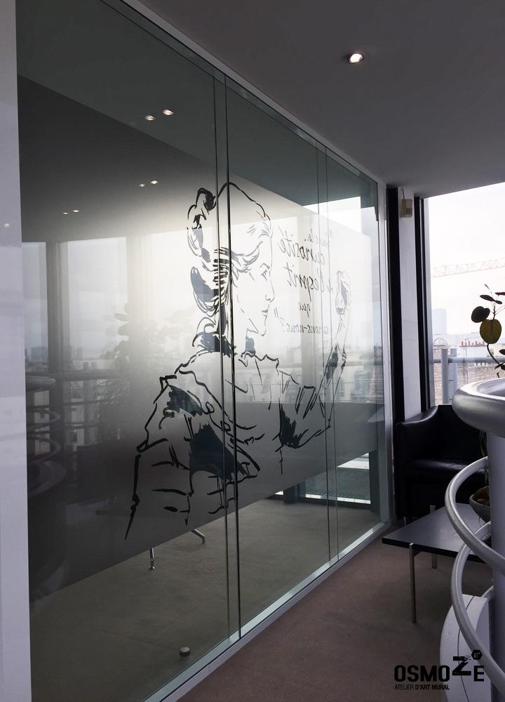 Décoration Murale Architecturale > Salle de Réunion > Vitrophanie Graphique > Siège Social Paris