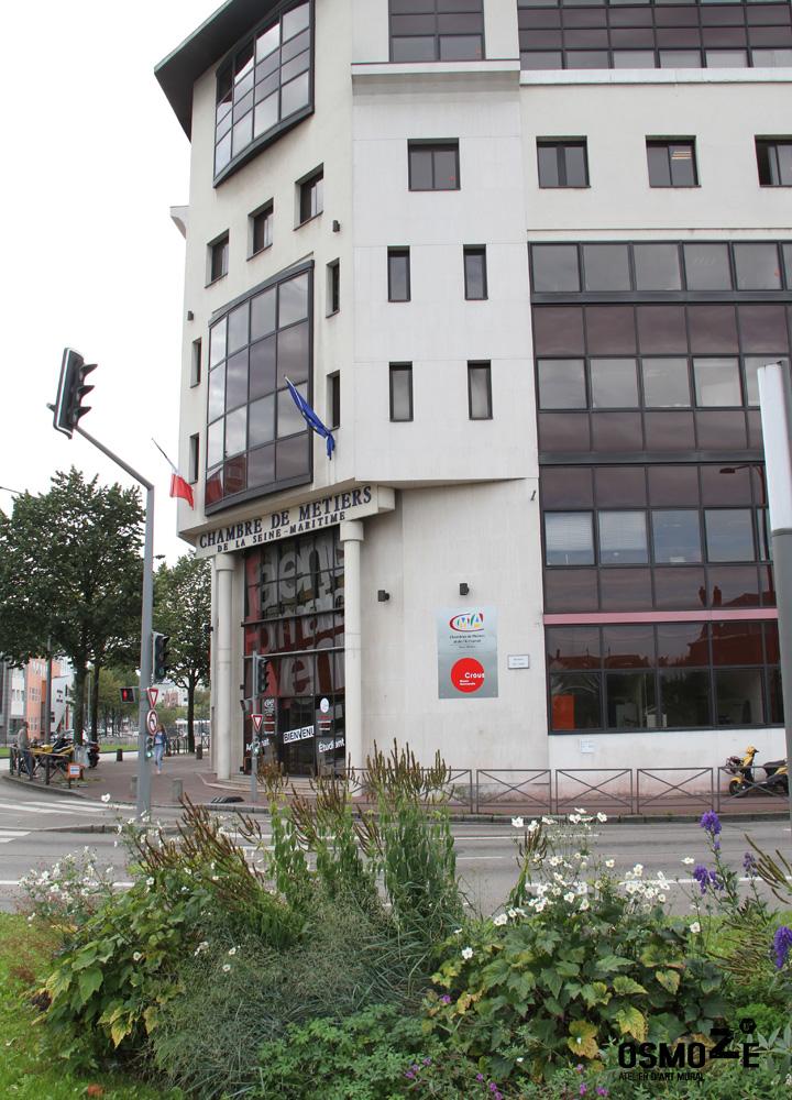 Décoration Murale & Signalétique Design > Crous et Chambre des métiers > Décor Fresque Graphique > Rouen Normandie