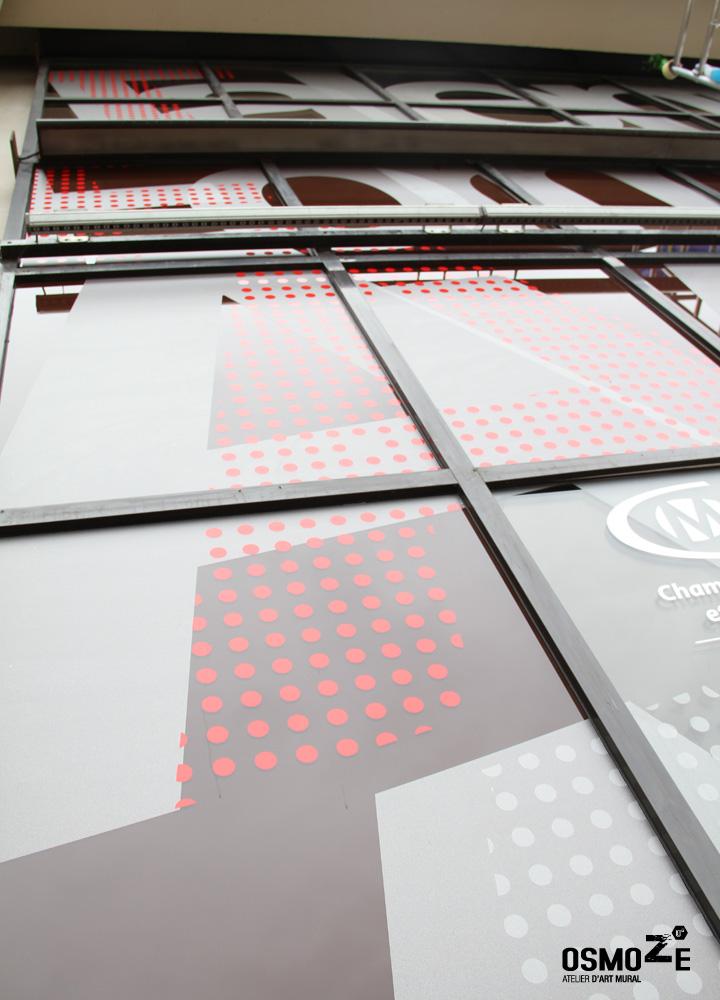 Décoration Façade Design > Crous et Chambre des métiers > Décor Fresque Graphique > Rouen Normandie