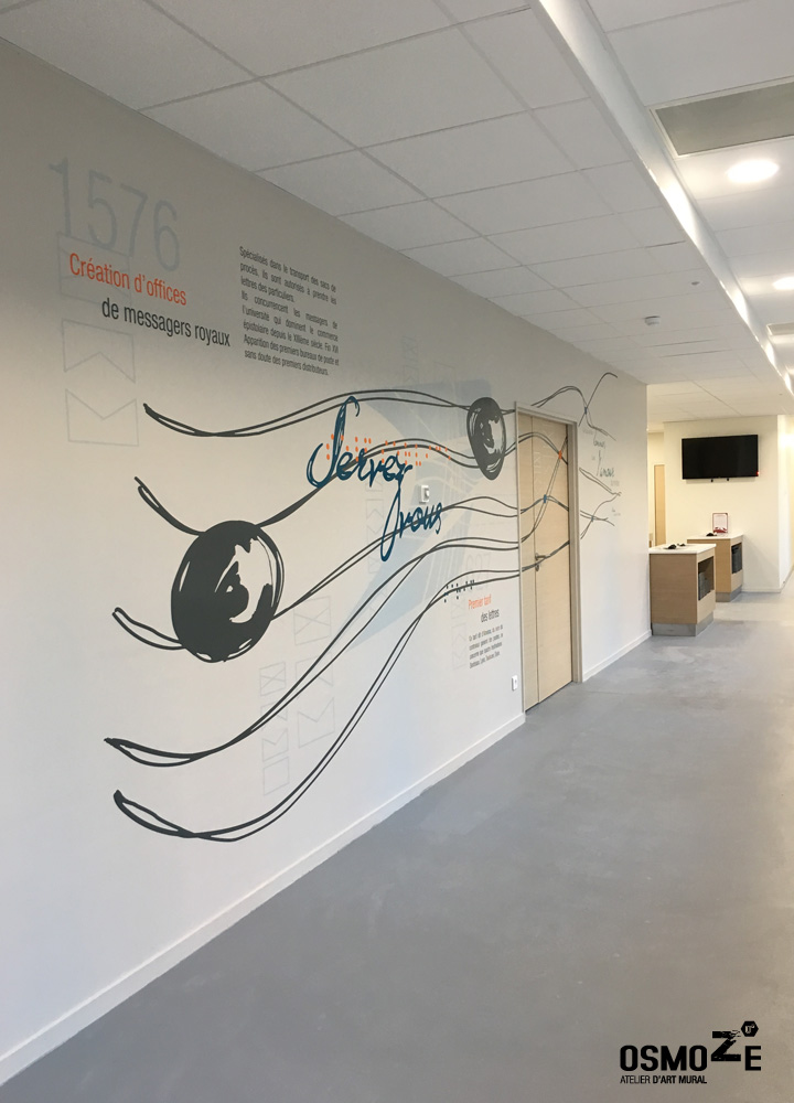Le restaurant d 39 entreprise du groupe la poste enfin d voil osmoze for Decoration murale entree