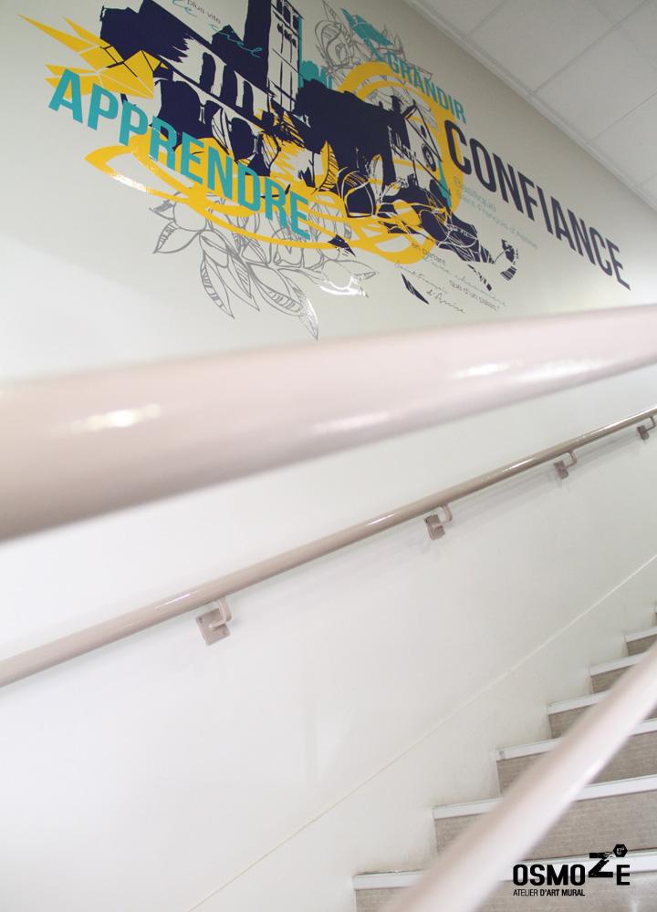 Fresque murale > Collège et Lycée St François Paris > Cage escalier