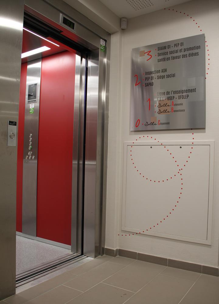 Signalétique murale > Siège Social LES PEP01 > Ascenseur