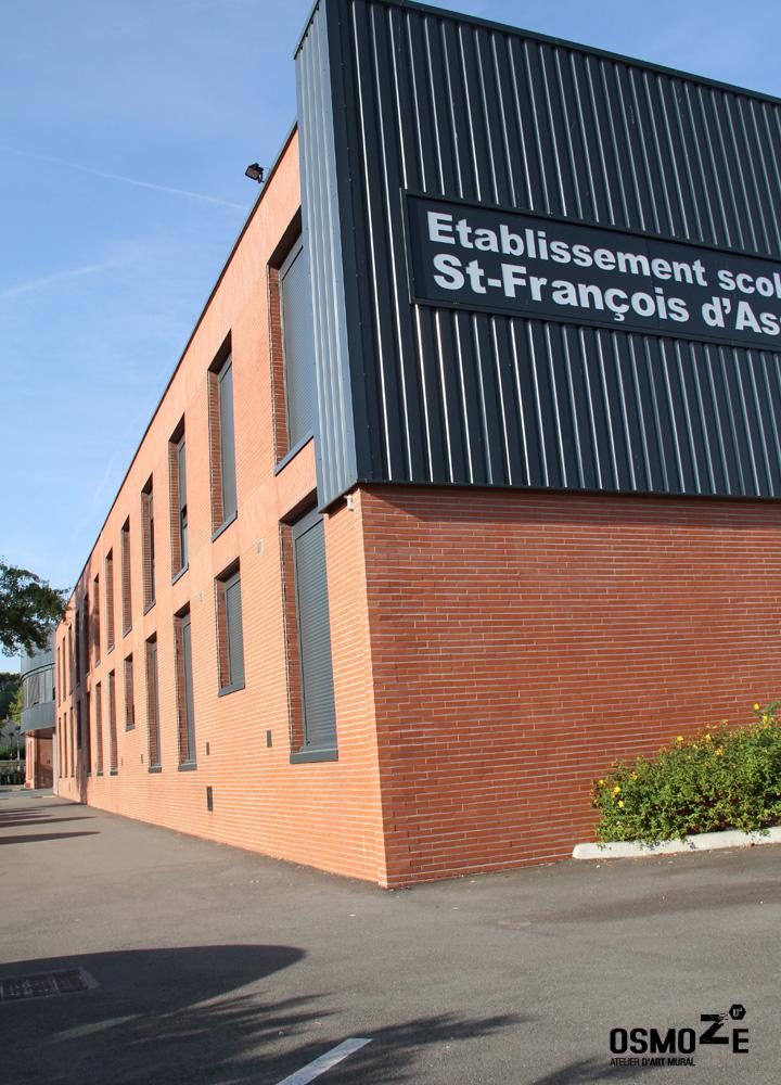 Signalétique murale > Collège et Lycée St François Paris > Façade