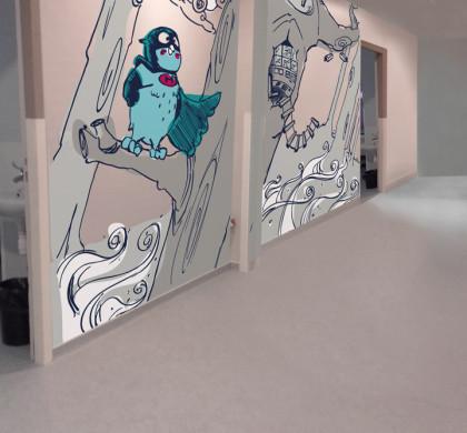 Décor Mural Enfant > Super Héro > Hôpital Enfant > Pédiatrie > Couloir