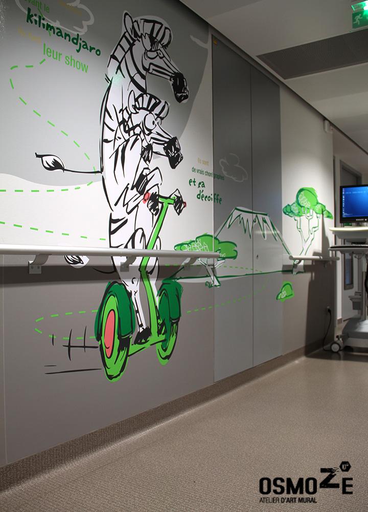 Décoration Murale Artistique  > CHU Hôpital Belfort Montbéliard > Enfant Pédiatrie > Couloir Animaux Connectés