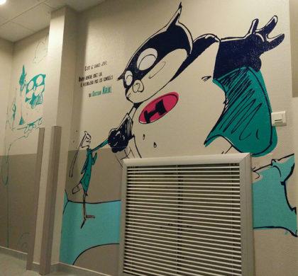 Décor bande dessinée > Super Heros  > Centre Paul Dottin > Hôpital enfants > Toulouse > Couloir