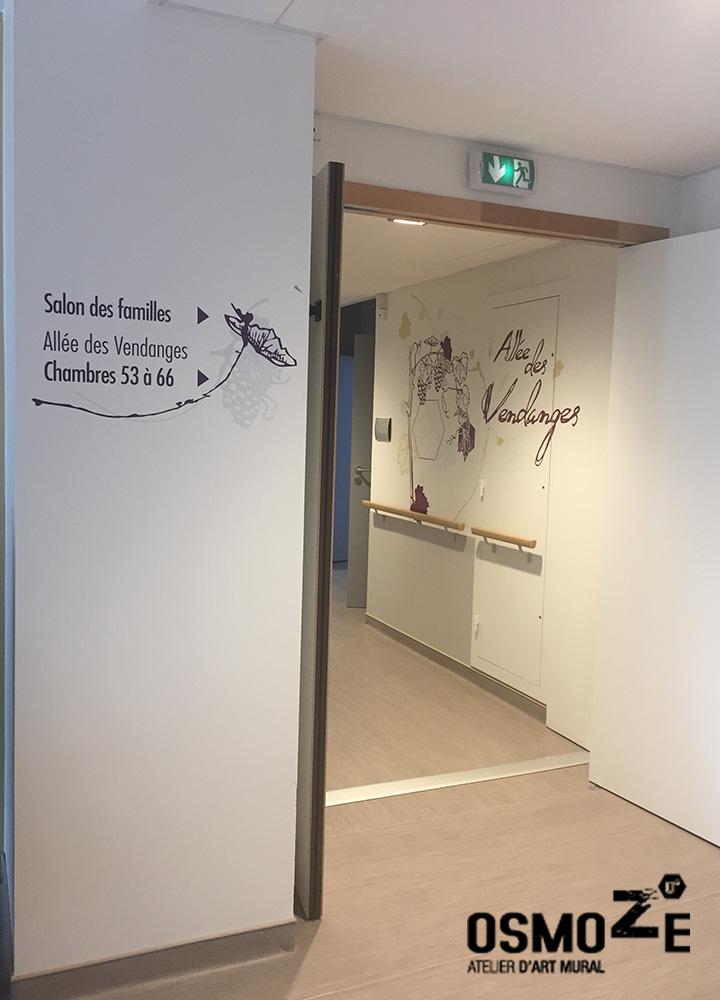 Décoration et Signalétique Murale Contemporaine > Végétale > Ehpad Nicole Limoge > Entrée d'unité