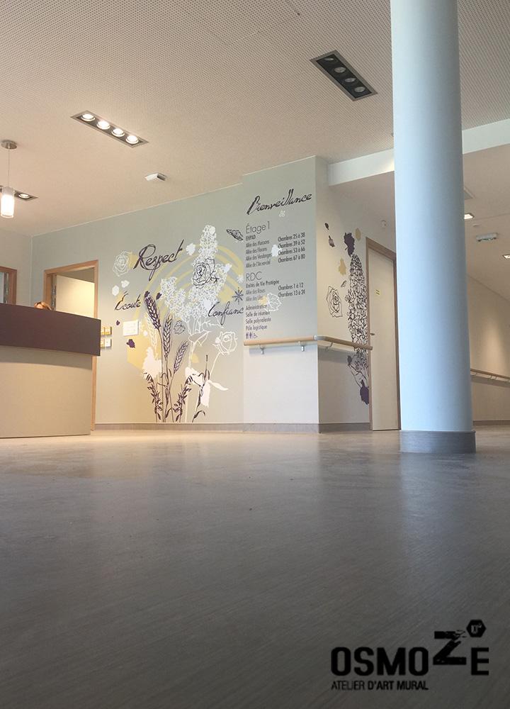 Décoration et Signalétique Murale Contemporaine > Végétale > Ehpad Nicole Limoge > Entrée principale