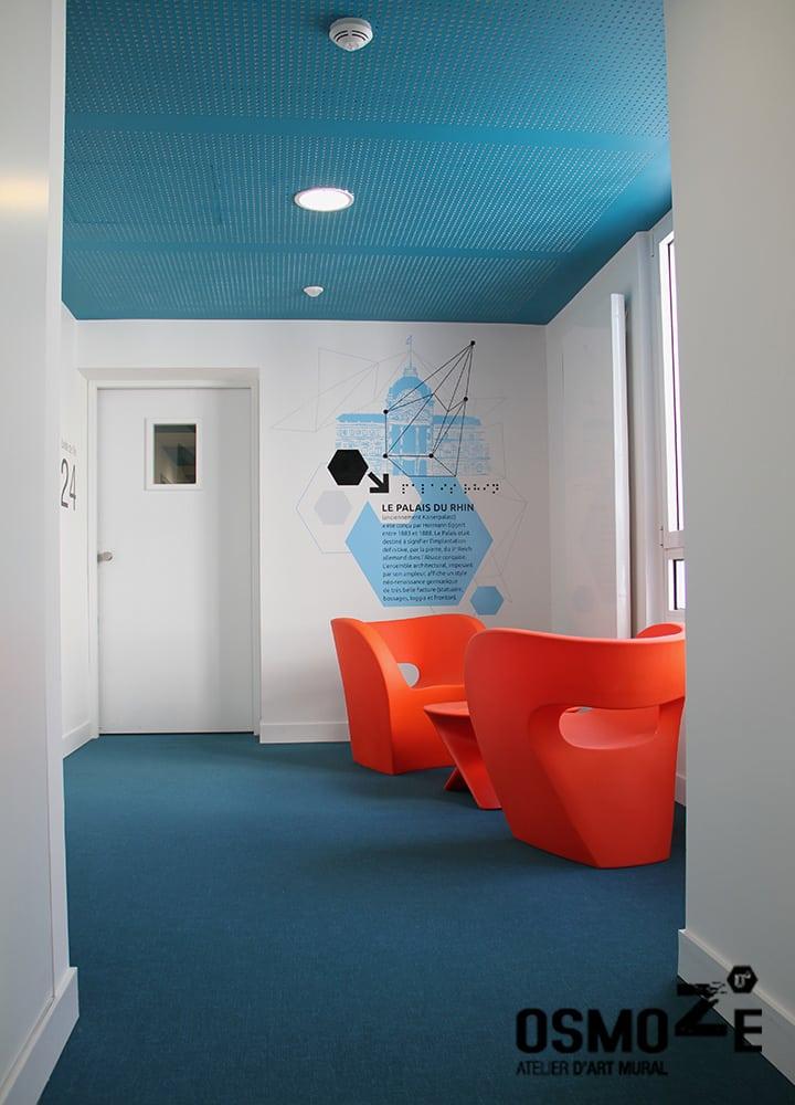 Décoration murale historique et design > Couloir > CROUS Strasbourg > Résidence étudiante