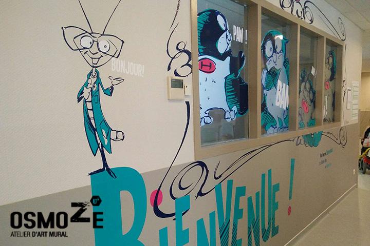 Fresque bande dessinée > Super Heros > Centre Paul Dottin > Hôpital enfants > Toulouse > Entrée.