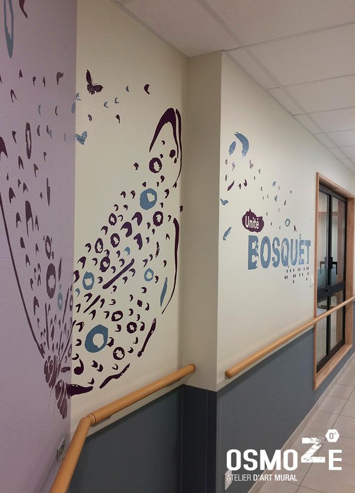 Décoration murale et signalétique artistique > Signalétique décorative > IME FONTLAURE>Décoration murale> Décoration couloir>Papillon