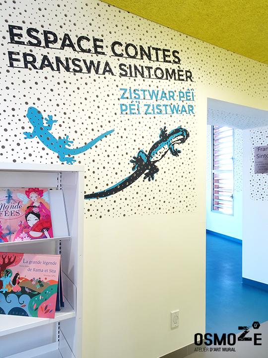 Décoration murale et signalétique contemporaine>Médiathèque Saint-Joseph>Ile de la Réunion>Espace contes