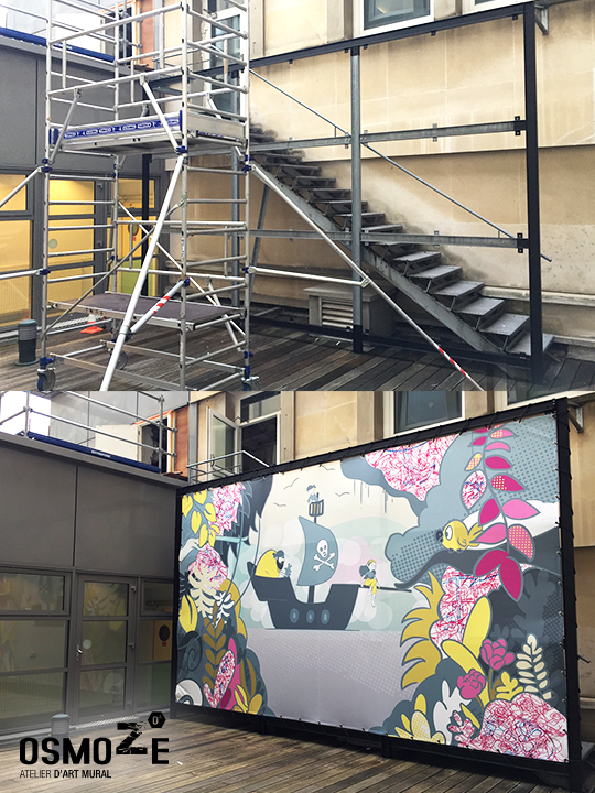 Décoration murale hôpital>Necker enfants malades>Décoration patio>Bâche>Avant-Après