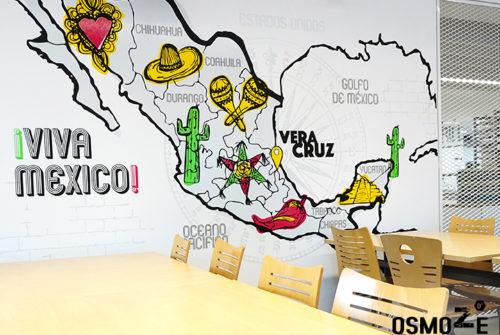 Décoration murale et signalétique artistique > Décoration murale design>Restaurant Crous Bordeaux>Veracruz>Mexique