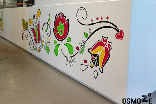 Décoration murale et signalétique artistique > Décoration murale tendance>Restaurant Crous Bordeaux>Veracruz>Fresque florale