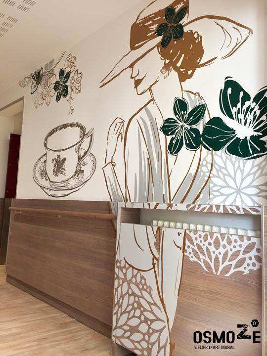 Décoration murale et signalétique artistique > Décoration et Signalétique Murale Contemporaine > Végétale > Ehpad Le Verger > Entrée Sas