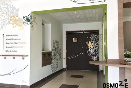 Décoration murale et signalétique artistique > Signalétique décorative > Décoration et Signalétique Murale Contemporaine > Végétale > Ehpad Le Verger > Accueil