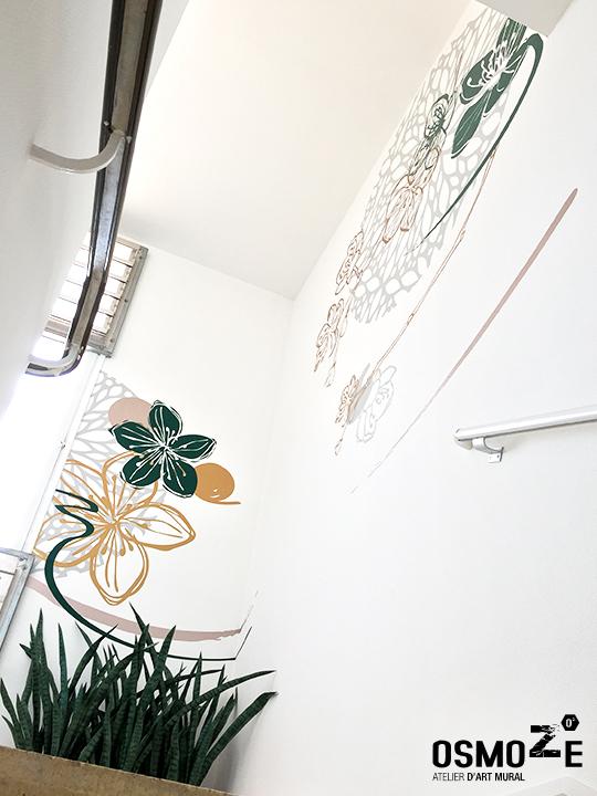 Décoration et Signalétique Murale Contemporaine > Végétale > Ehpad Le Verger > Escalier