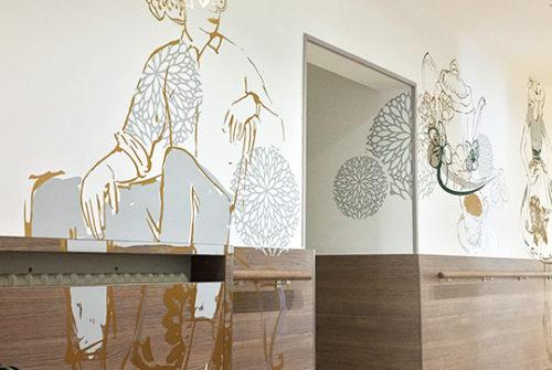 Décoration murale et signalétique artistique > Décoration et Signalétique Murale Contemporaine > Végétale > Ehpad Le Verger > Couloir