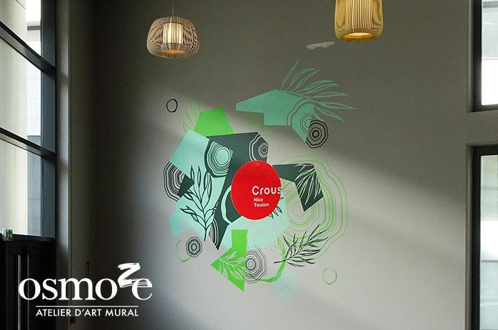 Décoration murale et signalétique artistique > Décoration et signalétique murale design>Restaurant Crous Nice>St Jean D'angély>Couloir