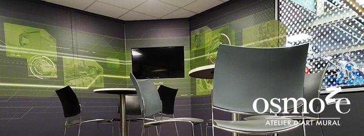 Décoration murale et signalétique artistique > Décoration et Signalétique Murale Contemporaine > Technique > Atelier Mercedes > Salle de co-working