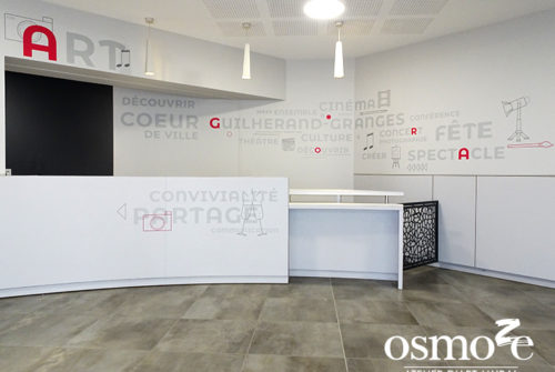 Décoration murale et signalétique artistique > Signalétique décorative > Décoration et signalétique murale design> Agora Guilherand Granges > Couloir