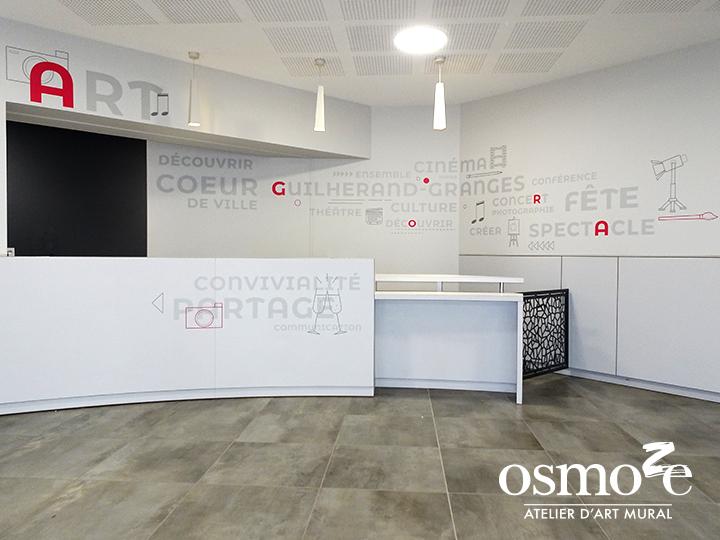 Décoration et signalétique murale design> Agora Guilherand Granges > Couloir