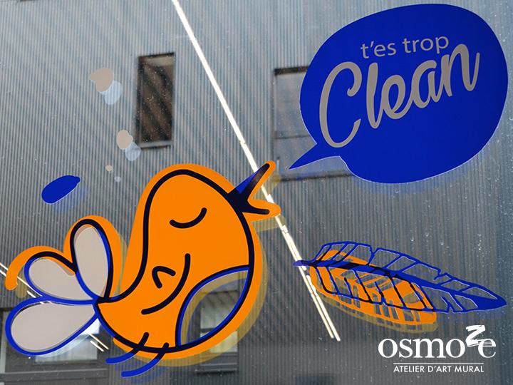 Décoration et signalétique murale design> Crous Versailles Orsay > Résidence Eileen Gray > Buanderie