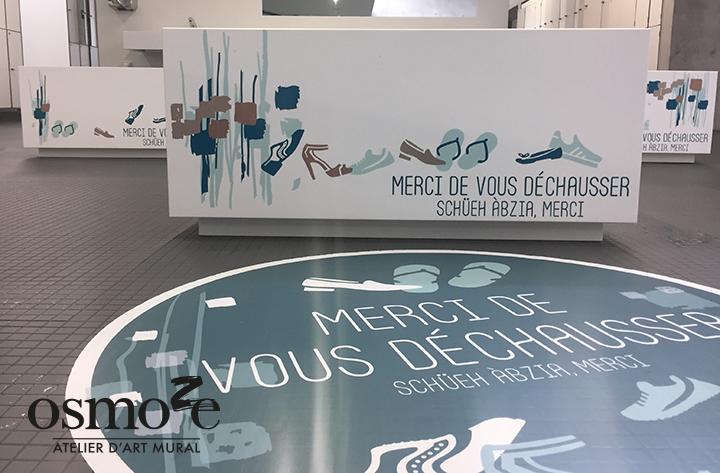Décoration et Signalétique Murale Moderne > Végétal abstrait > Piscine Ferrette > Vestiaires