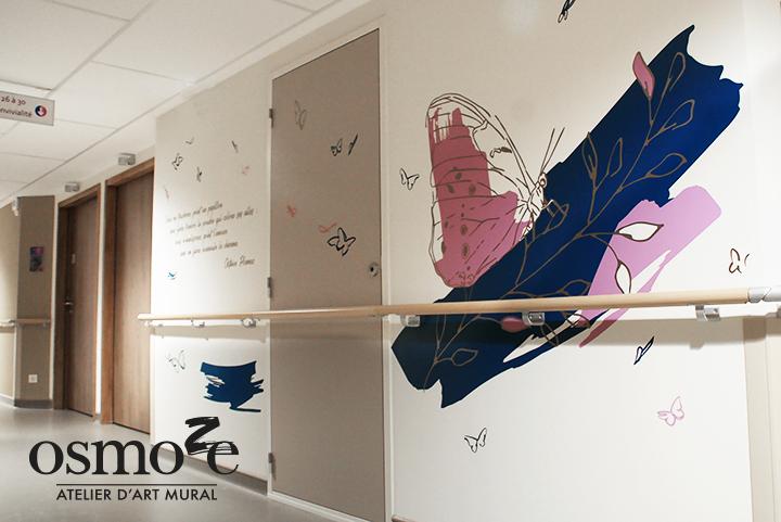 Décoration murale et signalétique artistique > Décoration et Signalétique Murale Contemporaine > Végétale > Ehpad Emilien Bouin > Couloir