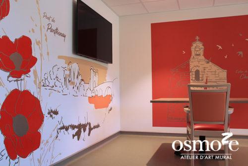 Décoration murale et signalétique artistique > Décoration et Signalétique Murale Contemporaine > Végétale > Ehpad Emilien Bouin > Salle