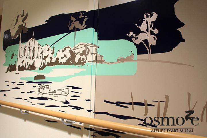 Décoration et Signalétique Murale Contemporaine > Végétale > Ehpad Emilien Bouin > Couloir