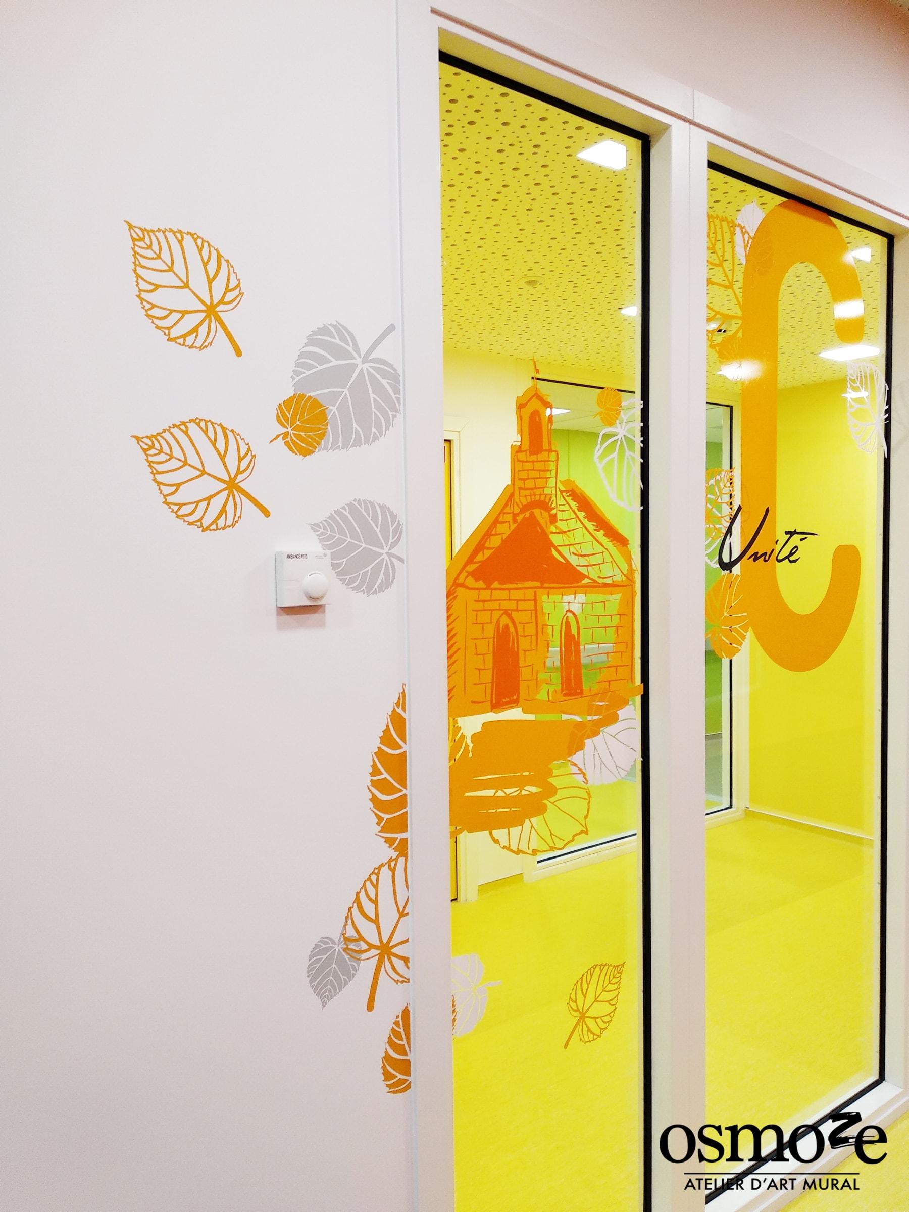 Décoration murale > Signalétique artistique > Vitrophanie > Osmoze > EPSAN > Cronenbourg > Strasbourg
