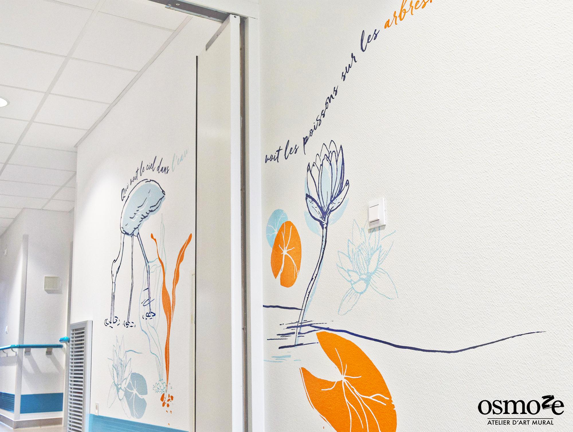 Osmoze > Décoration murale> Ehpad Chateauroux > Eau