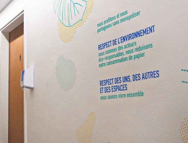 Osmoze > Décoration murale > ICADE > Charte de vie > Signalétique décorative