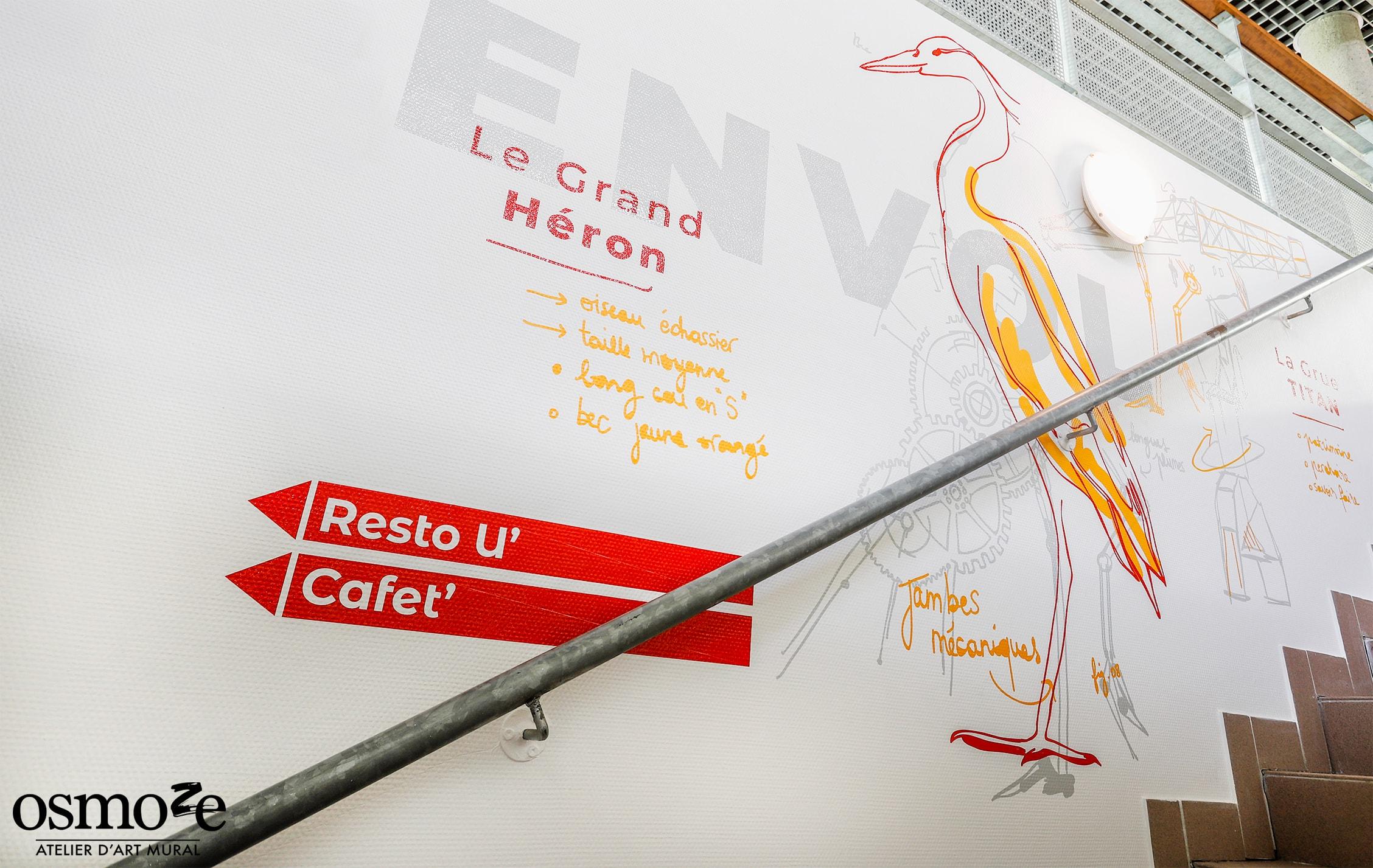 Décoration murale > Signalétique décorative CROUS Nantes > Héron